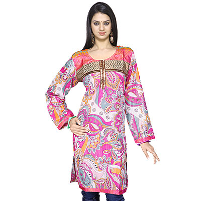 Designer Girls Zari Work Indian Shimmer Kurti Top